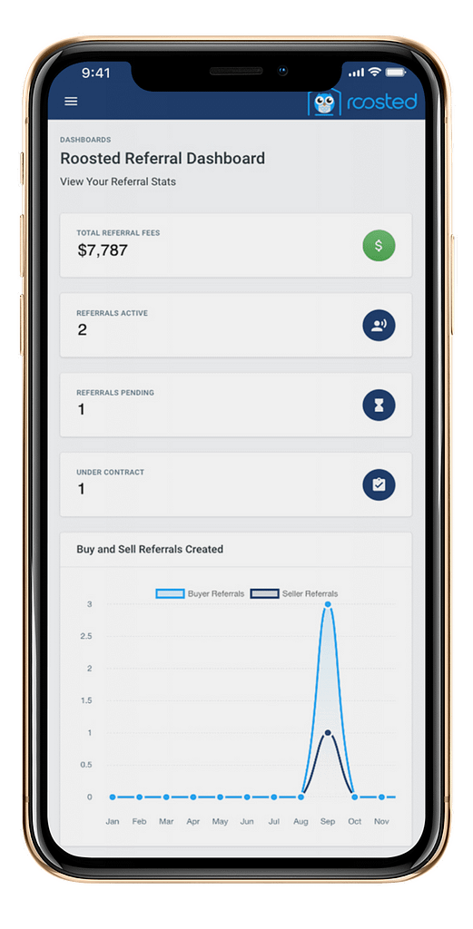 Roosted Agent Dashboard on an iPhone