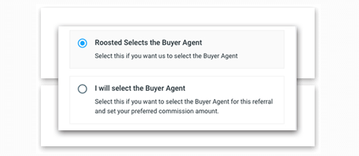 select the agent - roosted selects, or you select