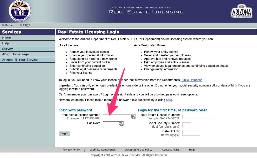 Login to the AZRE Online Licensing System