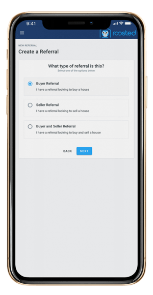 Roosted app showing how you choose what type of referral you are sending